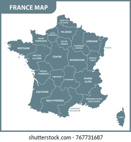 The detailed map of the France with regions or states