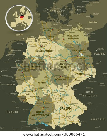 Detailed Map Germany Highways Railroads Water Stock Vector Royalty