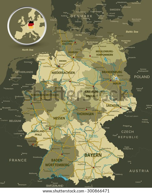 Detailed Map Of Germany.Detailed Map Germany Highways Railroads Water Stock Vector Royalty