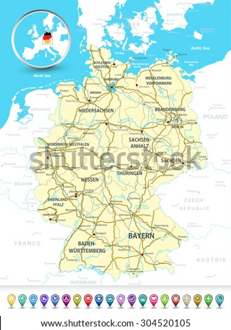 Detailed Map Germany Highways Railroadswater Objects Stock Vector