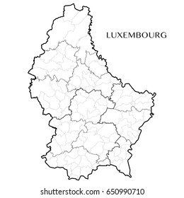 Detailed map of the Grand Duchy of Luxembourg with borders of municipalities, subdistricts, the former districts, and the country. Vector illustration