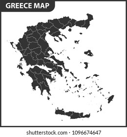 The detailed map of Greece with regions. Administrative division.