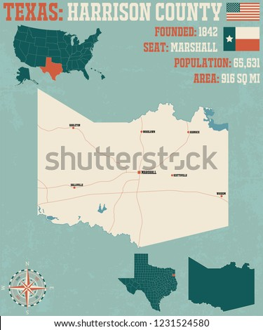 Detailed Map Harrison County Texas USA Stock Vector (Royalty Free ...