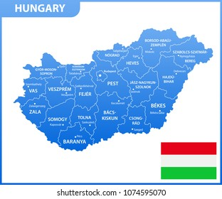 The detailed map of Hungary with regions or states and cities, capital. Administrative division