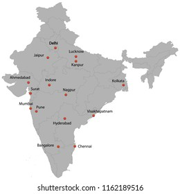 detailed map of the India with cities