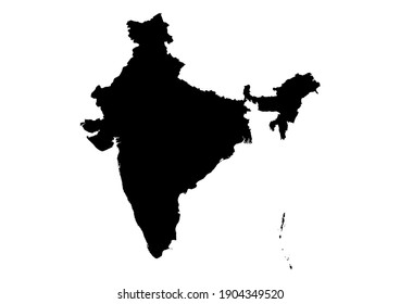 Detailed map of India isolated on white background. Vector map suitable for digital editing and prints of all sizes.