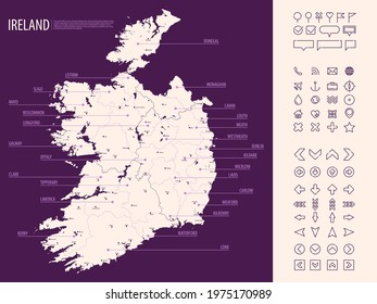 Detailed map of Ireland with administrative divisions on dark background, country big cities and icons set, vector illustration