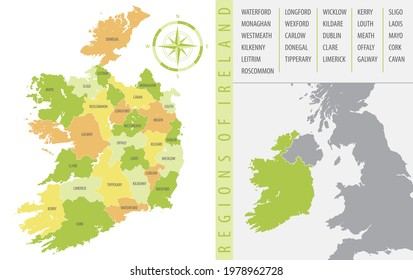 Detailed map of Ireland with administrative divisions of the country, color vector illustration