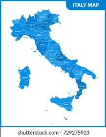 The detailed map of the Italy with regions or states and cities, capital