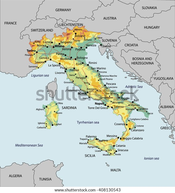 Detailed Map Italy Relief Cities Roads Stock Vector (Royalty ... on map of oceania cities, map of syria cities, map of japan cities, map of the carolinas cities, map of etruscan cities, map of luxembourg cities, map of switzerland cities, u.s. map cities, map of utah cities, map of s korea cities, map of poland cities, map of guyana cities, map of rome cities, map of democratic republic of congo cities, map of europe cities, map of french cities, map of central mexico cities, map of mid atlantic cities, map of gulf of mexico cities, map of niger cities,