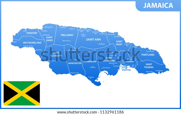 Detailed Map Jamaica Regions States Cities | Education Stock ...