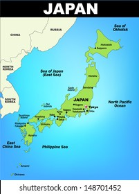 Detailed Map of Japan; Illustrator 8