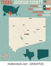 Detailed map of Johnson County in Texas, USA