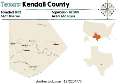 Detailed map of Kendall County in Texas, USA