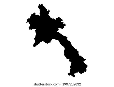 Detailed map of Laos isolated on white background. Vector map suitable for digital editing and prints of all sizes.
