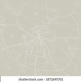 Detailed map of Lviv city administrative area. Royalty free vector illustration. Cityscape panorama. Decorative graphic tourist map of Lviv territory.
