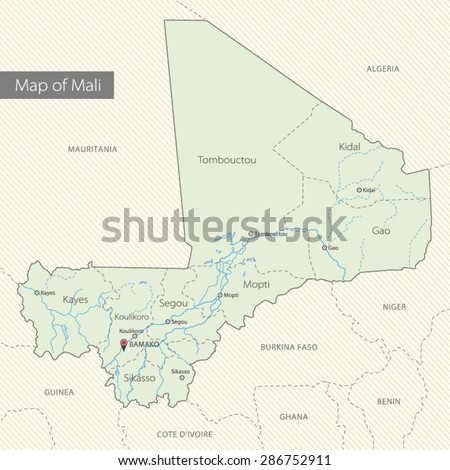 Detailed Map Mali Africa Stock Vector (Royalty Free) 286752911 ...