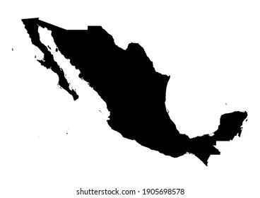 Detailed map of Mexico isolated on white background. Vector map suitable for digital editing and prints of all sizes.