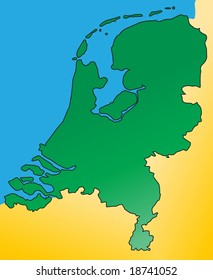 Detailed map of the Netherlands / Holland, Europe. Vector.