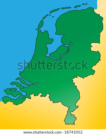 Holland Europe Map.Detailed Map Netherlands Holland Europe Vector Stock Vector Royalty