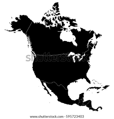 Detailed Map North Central America Borders Stock Vector (Royalty ...