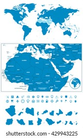 Detailed map of Northern Africa and the Middle East with World map navigation set