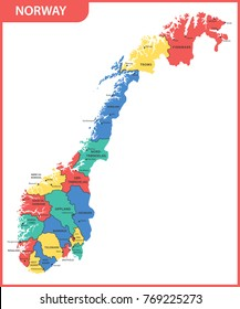 The detailed map of the Norway with regions or states and cities, capitals