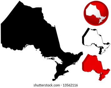 Detailed Map of Ontario, Canada with several variations