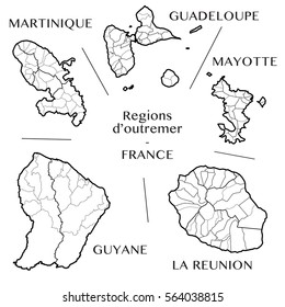 Detailed map of the overseas regions of France including all the administrative subdivisions from region to department borough canton and commune. Vector illustration