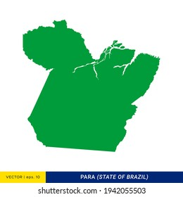 Detailed Map of Para - State of Brazil Vector Illustration Design Template