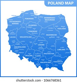 The detailed map of the Poland with regions or states and cities, capitals. Administrative division
