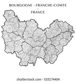 Detailed map of the region of Bourgogne Franche Comte, France including all the administrative subdivision from region to towns department arrondissement canton and commune. Vector illustration
