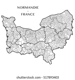 Detailed map of the region of Normandy Normandie, France including all the administrative subdivision from region to towns department arrondissement canton and commune. Vector illustration
