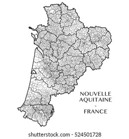 Detailed map of the region of Nouvelle Aquitaine, France including all the administrative subdivision from region to towns department arrondissement canton and commune. Vector illustration