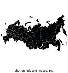 A detailed map of the Russian Federation border regions. Vector illustration. Crimea
