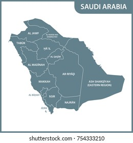 The detailed map of the Saudi Arabia with regions