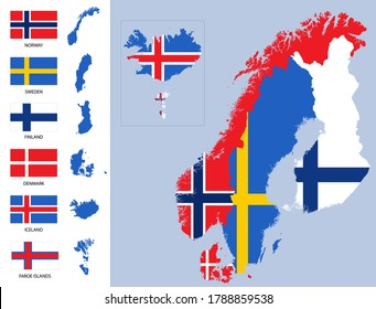 Detailed map of Scandinavia with country silhouettes and flags