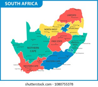 The detailed map of South Africa with regions or states and cities, capital. Administrative division