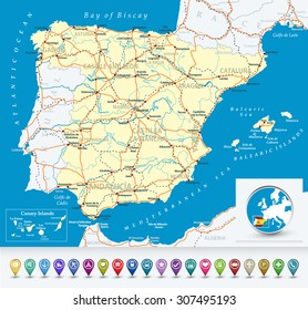 Road Map Of Spain.Ilustraciones Imagenes Y Vectores De Stock Sobre Vector Road Map Of