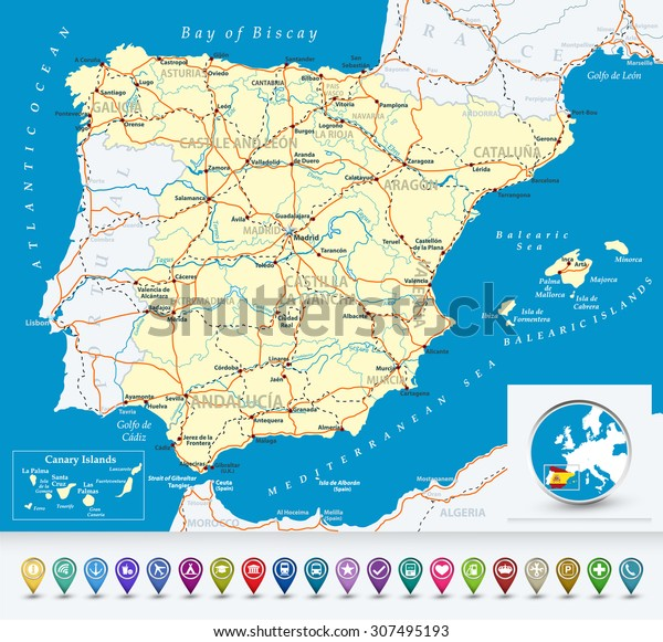 Detailed Map Of Spain.Detailed Map Spain Bubble Icons Highwaysrailways Stock Vector