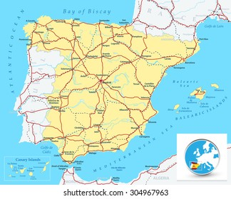 Detailed map of Spain with highways, railroads, cities and rivers/Detailed map of Spain.