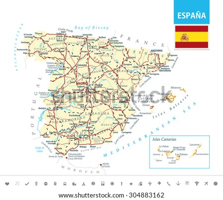 Road Map Of Spain.Detailed Map Spain Highwaysrailroads Cities Water Stock Vector