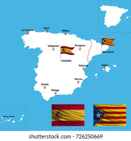 A detailed map of Spain with indexes of major cities of the country. National flag of the Spain and Catalonia. Vector illustration.