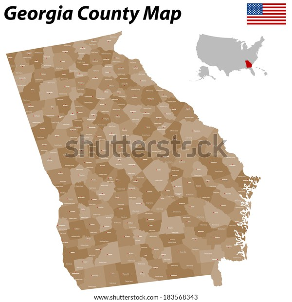State Of Georgia Map With Counties.Detailed Map State Georgia All Counties Stock Vector