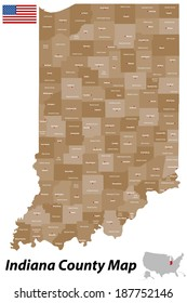 A detailed map of the State of Indiana with all counties and main cities.