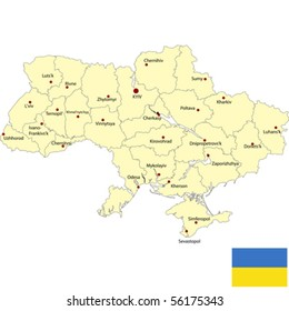 Detailed map of Ukraine with borders and flag