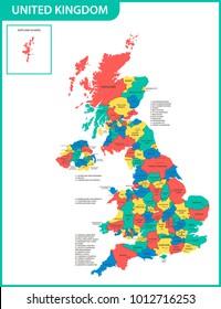 Detailed Map Of England Counties.Map Uk Counties Stock Vectors Images Vector Art Shutterstock