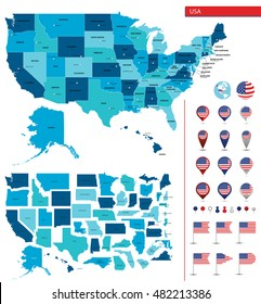 Detailed map of the United States of America. Big sities. Icons, location indicators