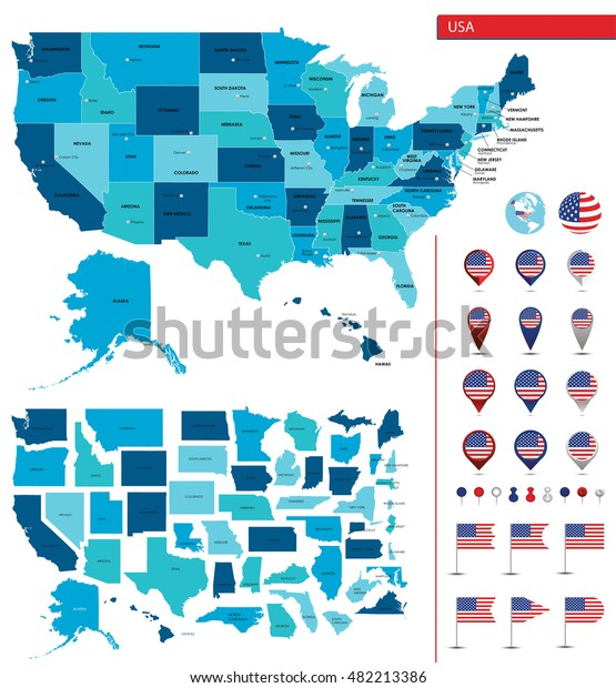 Detailed Map United States America Big Stock Vector (Royalty ...