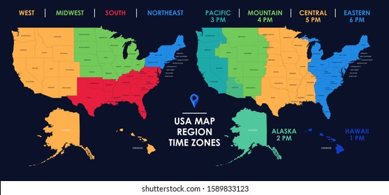 Usa Time Zone Map Images, Stock Photos & Vectors | Shutterstock